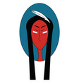 native american with white feather in his hair in vector image