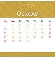 october 2018 calendar popular premium for business vector image vector image