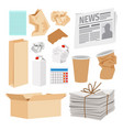 paper trash icons collection vector image vector image