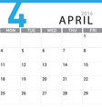 planning calendar April 2016 vector image vector image
