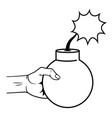 pop art hand with bomb cartoon in black and white vector image