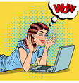 Pop Art Happy Beautiful Woman with Laptop at Home vector image vector image