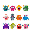 set cartoon cute monsters flat vector image