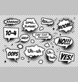 set comic speech bubbles on transparent vector image