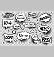 Set comic speech bubbles on transparent