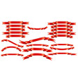set of red ribbons on white background vector image vector image