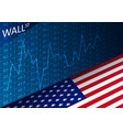 stock exchange chart and american flag vector image vector image