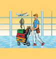 traveller tourist with luggage at the airport vector image vector image