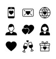 valentine s day black icons on white background vector image vector image