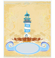 Retro background with lighthouse vector image