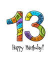 13th anniversary celebration greeting card vector image vector image