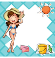 A girl wearing a bikini with a hat vector image vector image