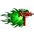 a uzi gun with flames vector image vector image