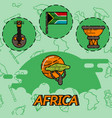 africa flat concept icons vector image vector image