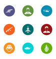 armed uprising icons set flat style vector image vector image