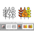 autumn fall leaf line icon editable stroke vector image vector image