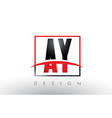 ay a y logo letters with red and black colors and vector image vector image