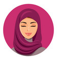 beautiful muslim arab woman in hijab closing vector image vector image