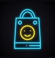 bright neon shopping package with smile sign vector image vector image