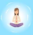 businesswoman safe balance with meditation vector image