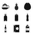 can of beverage icons set simple style vector image vector image