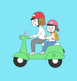 cartoon cute mom and baby riding vector image