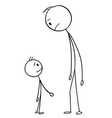 cartoon man and boy or father and son vector image vector image
