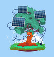 cartoon smiling tree with solar panels renewable vector image
