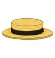 cartoon yellow kanotie straw hat vector image vector image