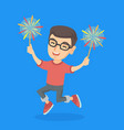 caucasian boy holding burning up bengal lights vector image vector image