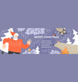 christmas banner with funny animals and santa vector image