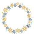 christmas wreath with snowflakes on a white vector image