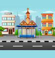 city scene with bus stop an vector image