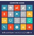 Computer icon set Multicolored square flat vector image vector image