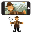 Concept flat design with fisher and selfie stick vector image vector image