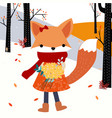cute baby fox girl and flower in the spring forest vector image