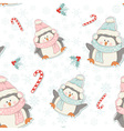Cute Christmas penguins seamless pattern vector image vector image