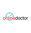 doctor online logo with clock icon mobile vector image vector image