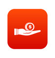 dollar in hand icon digital red vector image vector image