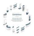 exhibition stands 3d banner card circle isometric vector image vector image