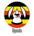 flag of uganda of the world in the form of a sign vector image vector image