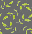 floral seamless pattern background green on grey vector image vector image