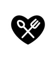 fork and spoon white simple silhouettes in heart vector image vector image