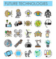 future technologies outlin color icons set on vector image