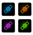 glowing neon wrist watch icon isolated on white vector image