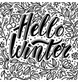 greeting card with hello winter text and doodles vector image