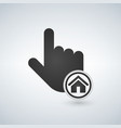 Hand mouse cursor with home icon in the circle vector image