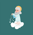 happy god character throwing snow vector image vector image