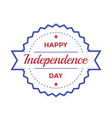 happy independence day badge on white vector image vector image