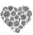 heart floral design with black and white roses vector image vector image